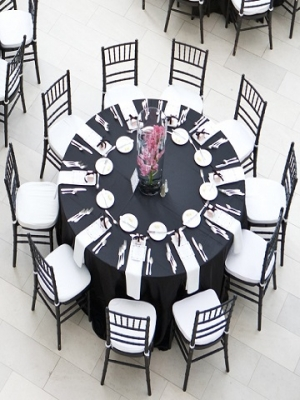 Black Cotton Linens, Black Chiavari Chairs