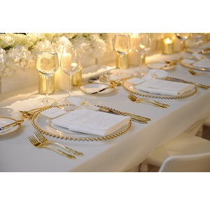 Gold Beaded Charger Ps Event Rentals