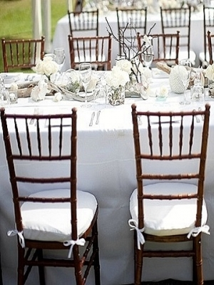 White Cotton Linen, Fruitwood Chiavari Chairs