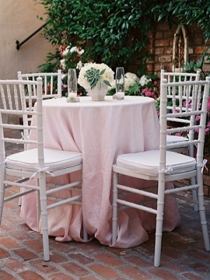 Light Pink Cotton Blend Linen, White Chiavari Chairs