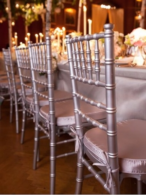 Silver Chiavaris with Silver Satin Cushions